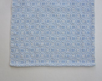Handwoven Blue M and W Twill Table Runner
