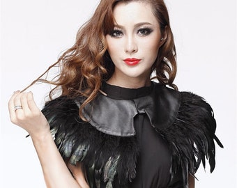 Black rooster coque feather Collar Shurg Cape
