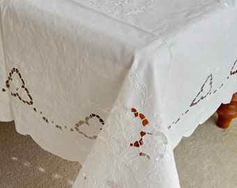 """Banquet Oblong Linen Tablecloth, Shabby Chic Decor Linen 72"""" x 108"""" Long Tablecloth Hand Made Embroidery White Wedding Gift"""