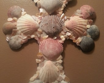 Sea shell cross wall art