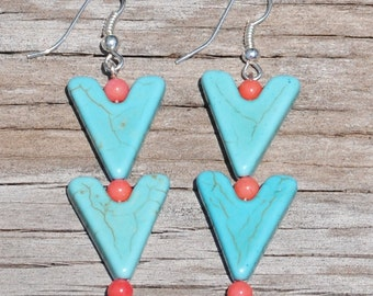 Turquoise Triangle Dangle Earring w/ pink beads