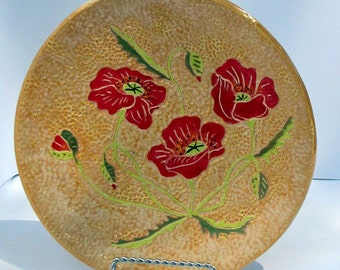 Ceramic poppy flowers yellow plate or platter round hand made