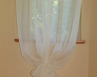 Elegant ,Simple Sheer Voile Window Curtain in Ivory or White 40'' Wide  Custom length With Matching Tie Back