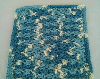 Crochet Wash Cloth, Handmade of 100% Cotton, Blue