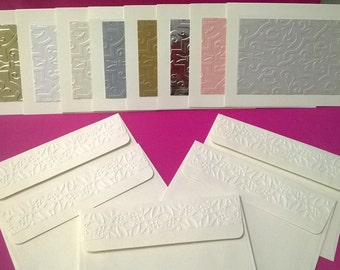 Embossed Designer Metallic Note Cards With Coordinating Envelopes. Textured Cardstock Die-Cut on note card and Textured Flap Envelope
