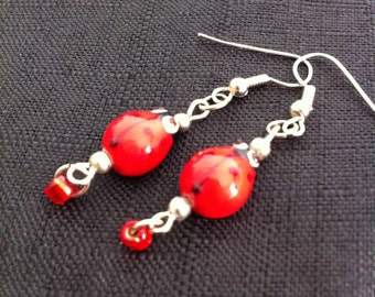 Unique Cute Whimsical Glass Lampwork Red Ladybird Handmade Dangle Earrings