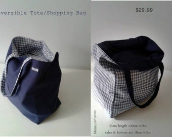 Tote Bag - Reversible Navy Canvas with Checked  Blue  & White Cotton