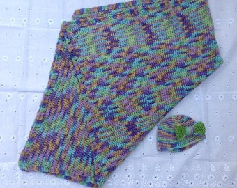 Crocheted Purple delight baby  blanket set