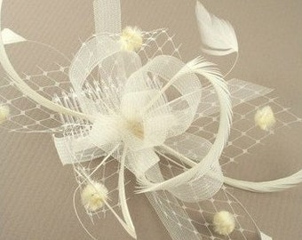 Ivory/ Cream Looped Ribbon Hair Fascinator