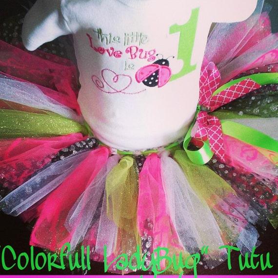"BellaBleu custom ""Colorful Ladybug"" Tutu Set - pink & green"