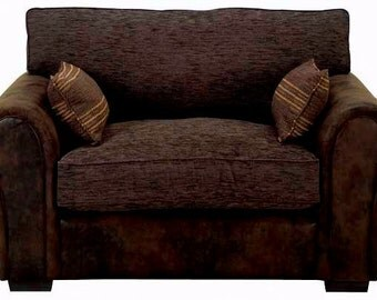 Barcelona Cuddle Chair In Faux Suede And Brown Chenille