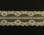 "Ivory/Rose colored 2"" Lace Floral Trim"
