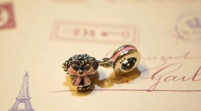 Pandora dangle charm wedding bouquet pink bow ribbon