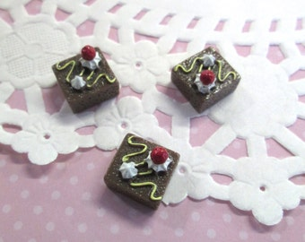 Miniature Brownie Square Dessert Cabochons, #269a
