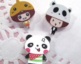 4 Assorted Kawaii Button Cabochons Panda and Girls, #606A