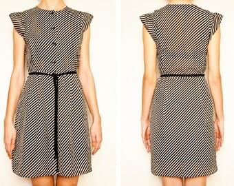 On Sale Japanese Vintage Black and white Striped Tone  Chiffon 1980's dress