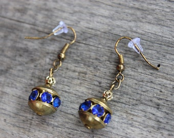 Vintage inspired navy blue and gold dangle earrings