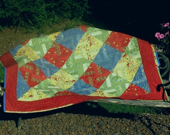 Brightly colored quilt which can be used for many things