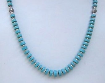 Turquoise Gemstone Necklace - 30.50 Grams .925 Sterling Silver