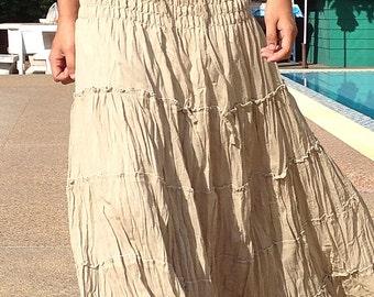 LONG GYPSY Skirt/Dress - Boho-Gypsy Style- Tiered Cotton-BEIGE