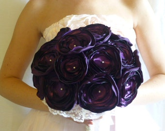 Fabric Flower Wedding Bouquet, Satin Flower Bouquet, purple, custom colors, pearl beading