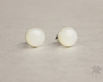 White mother of pearl stud earrings sterling silver