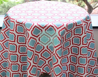 Tablecloth - Premier Prints - Canal - Carmine Red Blue - Choose Your Size - Table Linen Wedding Home Decor Dining Kitchen
