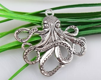 Wholesale~Large Antique Silver Paul Octopus Charms Connectors  Pendants  Jewelry Accessories 56x59 mm C2673
