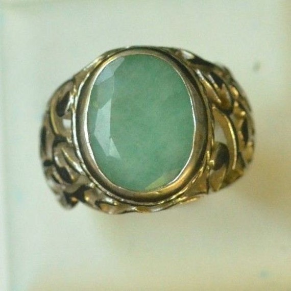 Sterling Silver 925 Natural Emerald Men Ring Persian by ZeynepGems