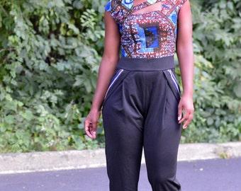 Final Clearance African Print Top Flirty-Modest Jumpsuit