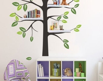 popular items for shelving tree decals on etsy. Black Bedroom Furniture Sets. Home Design Ideas