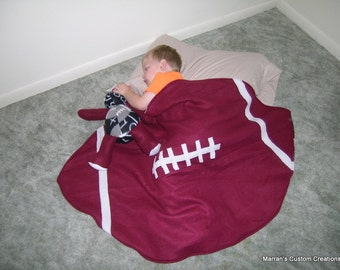 Childs Football Shaped Custom Handmade Fleece Blanket - nfl - gift idea - support your team - soft and cozy - team colors