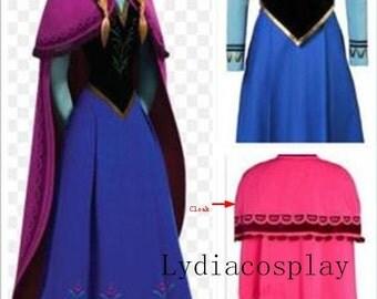 Handmade - Anna Costume, Anna Dress, Princess Anna Dress, Frozen Anna Dress, Anna Dress Adult/kid, Anna Cosplay Costume Adult/Kid
