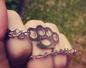 Brass Knuckles Necklace Pendant Nickel Silver Hand