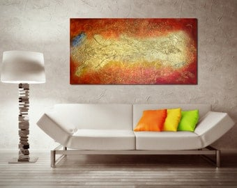 Original Large Abstract Painting on Canvas - Home Decor Modern Textured Multimedia Acrylic, Golden Galaxy - Custom Made to Order