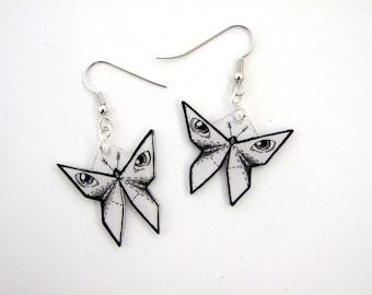 Illustration origami butterfly earrings