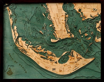 Wood Chart of Sanibel Island, Florida,  24.5x31 - Large