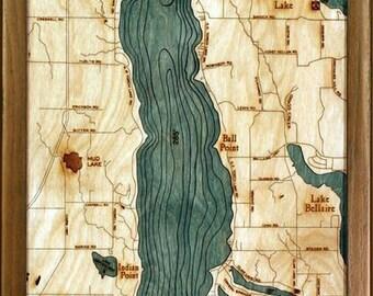 Wood Chart of Torch Lake, Michigan,  13.5x31 - Medium