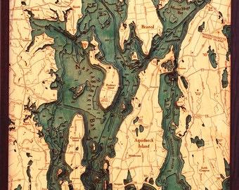 Wood Chart of Narragansett Bay / Newport, Rhode Island,  24.5x31 - Large