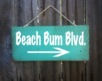 Beach Bum Blvd., Surf Decor, Surf Shack,  Beach House Sign, Beach Decor, Beach Bum Saying, Beach Sign, Surfing Signs