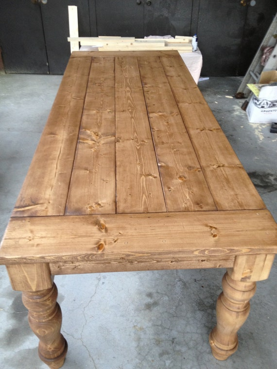 farmhouse dining table with handturned legs. Black Bedroom Furniture Sets. Home Design Ideas