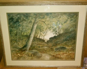 Watercolor Artist Signed Van Spray Wooded Interior Painting Large Wall Art