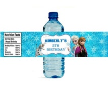 Frozen Water Bottle Label - Printable - Digital - Birthday Party -  Personalized Customized