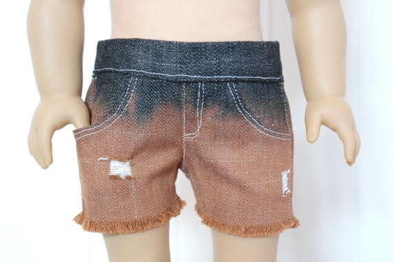 Dark Wash Distressed Denim Shorts with Orange Ombre