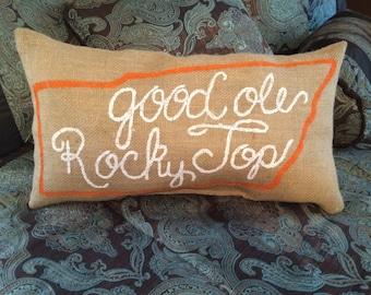 Custom Handmade Hand Painted Burlap Pillows Tennessee Vols