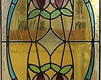 Tulip Stained Glass. Door Panel Stained Glass.Suncatcher.Flowers. Decorative Customizable on Request