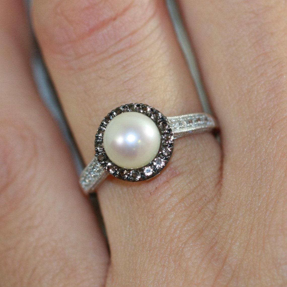 Pearl Engagement Ring June Birthstone Ring Gemstone 🔎zoom