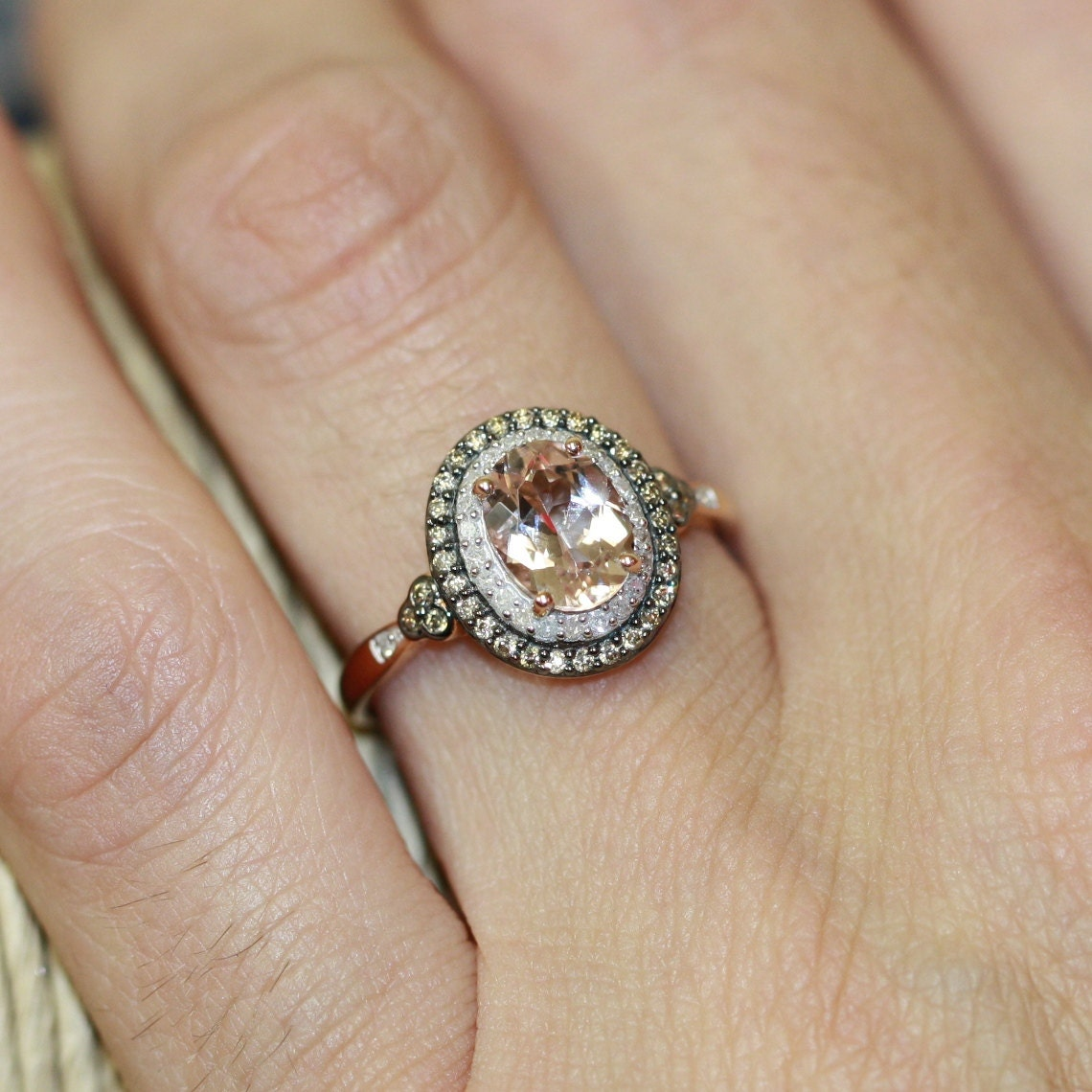 champagne diamond and morganite engagement ring in 10k rose