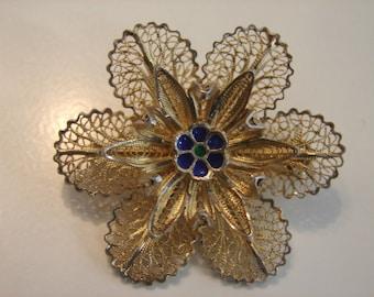 FINAL MARKDOWN Beautiful Art Deco Silver Enamel Corsage Flower Brooch.