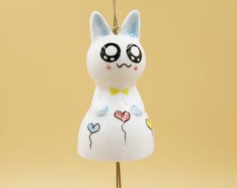 Ceramic Jewelry- Cute Kitty Wind Bell